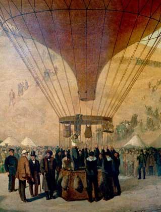 IGDA/G. Dagli Orti     Л.ГАМБЕТТА с поручением французского правительства покидает на аэростате осажденный прусскими войсками Париж (1870).