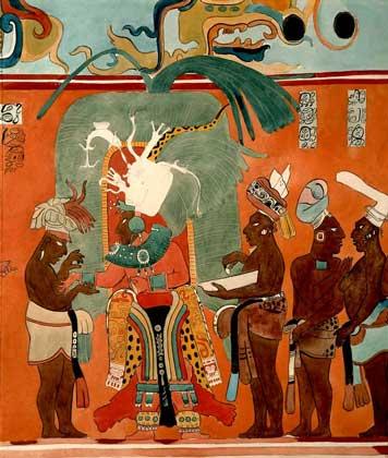 ФРЕСКА, изображающая церемонию посвящения в сан жреца (Бонампак, Мексика).   IGDA/G. Dagli Orti