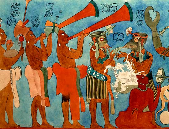 ИСКУССТВО МАЙЯ. Великолепные образцы сохранившейся фресковой живописи обнаружены в одном из храмов города Бонампак в мексиканском штате Чьяпас.       IGDA/G. Dagli Orti