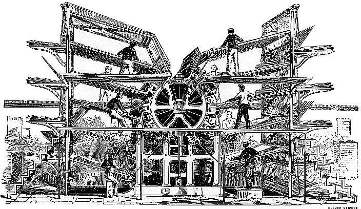 РОТАЦИОННАЯ ПЕЧАТНАЯ МАШИНА, печатающая текст на 10 цилиндрах по мере того, как рабочие вручную подают в нее листы бумаги, была сооружена в 1846 нью-йоркской фирмой «Р.Хоу и компания».
