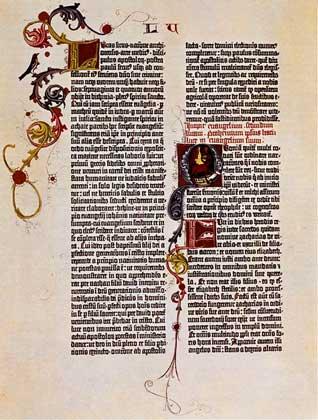 IGDA     СТРАНИЦА БИБЛИИ, напечатанной Гутенбергом (1456).