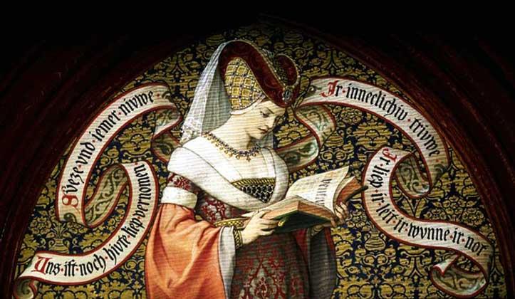 IGDA/A. Dagli Orti     НЕПРЕХОДЯЩАЯ РАДОСТЬ ЧТЕНИЯ: женщина эпохи Средневековья читает книгу Тристан и Изольда.