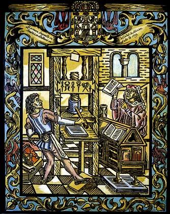IGDA/G. Dagli Orti     КНИГОПЕЧАТАНИЕ В АМЕРИКЕ. Первая печатная машина в Америке, изображенная художником 16 в., была сооружена в Мехико в 1539.