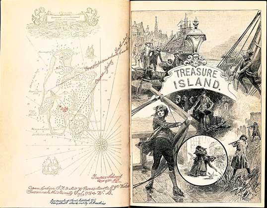 IGDA     ФРОНТИСПИС первого издания книги Р.Стивенсона Остров сокровищ (1883).