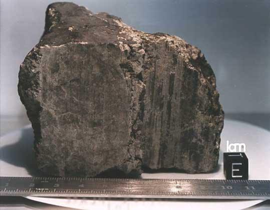 МЕТЕОРИТ, возможно, прилетевший с Марса. Обнаружен в Антарктиде в 1984.