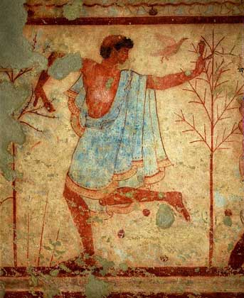 IGDA/G. Nimatallah ДЕТАЛИ ФРЕСКИ из этрусской гробницы в Тарквиниях.