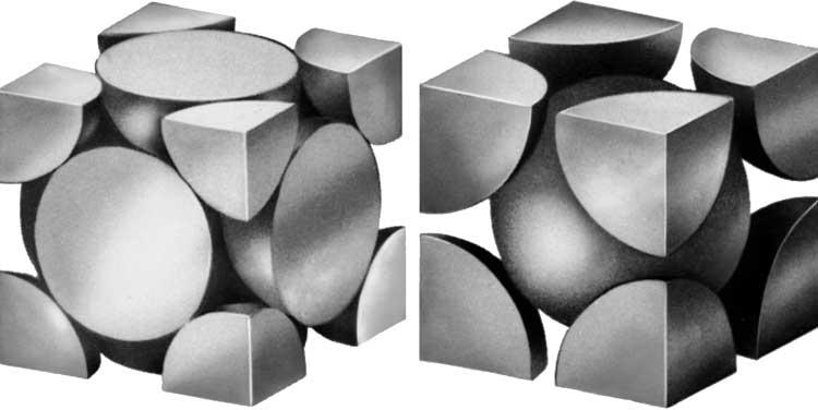 ПРОСТЫЕ КРИСТАЛЛИЧЕСКИЕ СТРУКТУРЫ МЕТАЛЛА, демонстрирующие (слева) вид кубической гранецентрированной решетки...